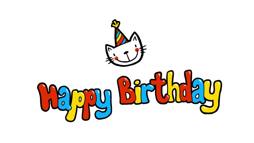 Happy Birthday 2D Cute Animation Greeting Card Stock