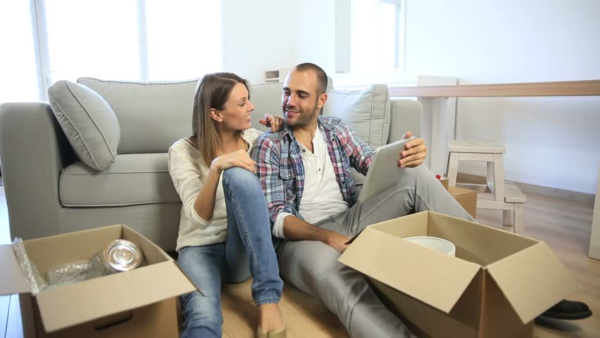 Young people looking at transport supplier for relocation   Shutterstock HD Video #4987793