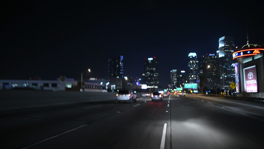 Driving Freeway POV 001 LA Downtown USA 60 seconds