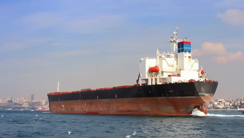 Tanker ship on route to Black Sea. Side view of the large cargo ship. High