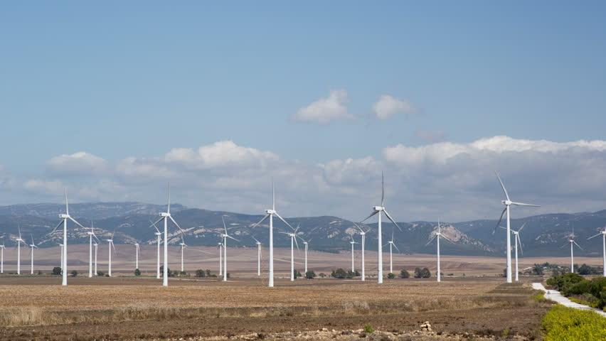time lapse wind turbines in a field in tarifa, southern spain