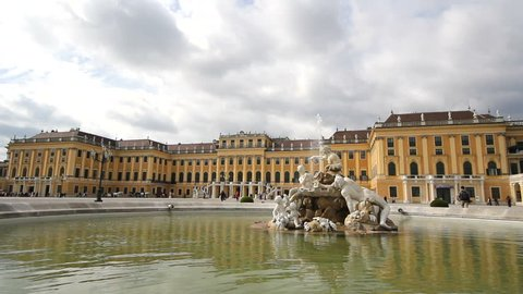 Beautiful view, Schonbrunn place in Vienna and artesian fountain