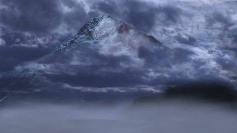 Eiger Nordwand Switzerland. Clouds Timelapse