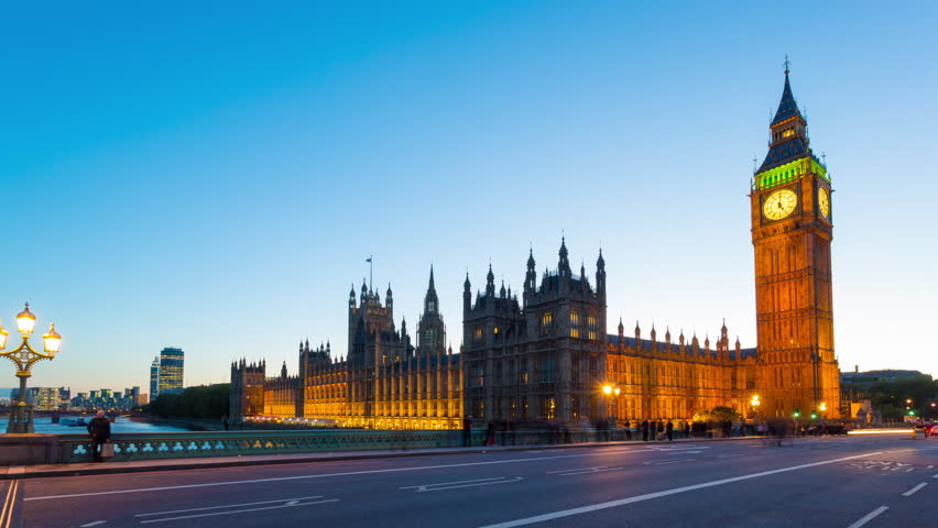 Time lapse footage of the rush hour evening traffic on Westminster Bridge in London with Houses of Parliament and Big Ben in the background., London, United Kingdom