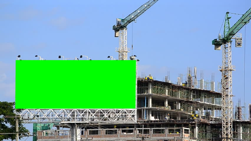construction site and big billboard (green color)