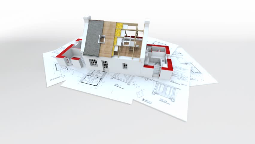 3d Animation Showing A Home Construction Process From The Blueprints To The Roofing Installation