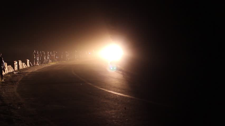 Leon Spain Cars Driving In Heavy Fog On The Highway January