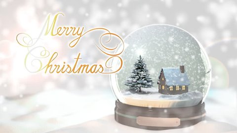 Merry Christmas Background by Christmas tree and house in Snow globe Snowflake with Snowfall scene