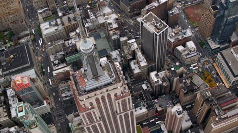 New York City, NY - October 26, 2012: Aerial shot of Empire State Building, New York City