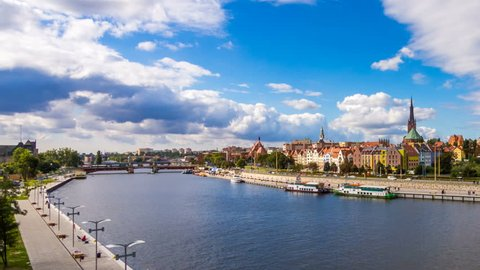 SZCZECIN - 28 NOV: Timelapse of Szczecin or Stettin city river scene in Poland on 28 November 2013 in Szczecin, Poland