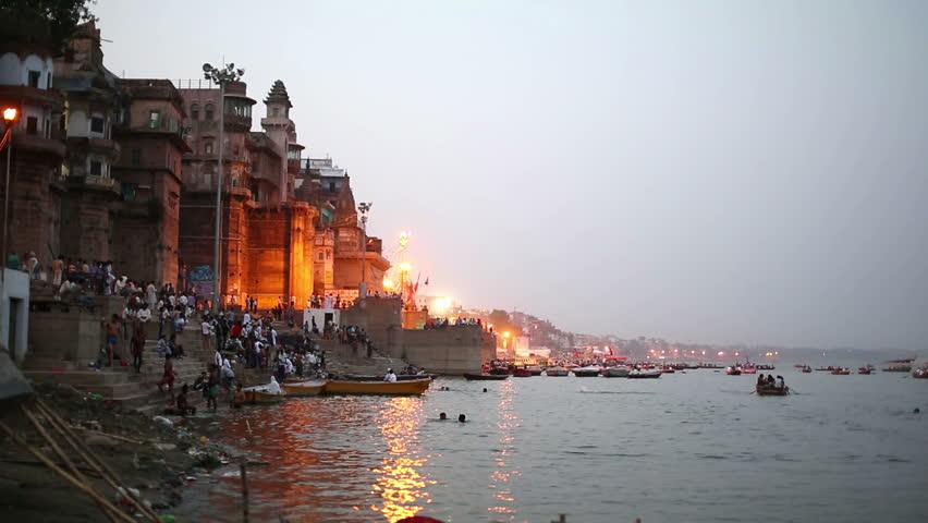 VARANASI, INDIA - MAY 2013: Everyday scene by Ganges River in Varanasi, India