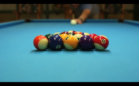 High definition montage of man playing pool - billiards. Multiple HD footage