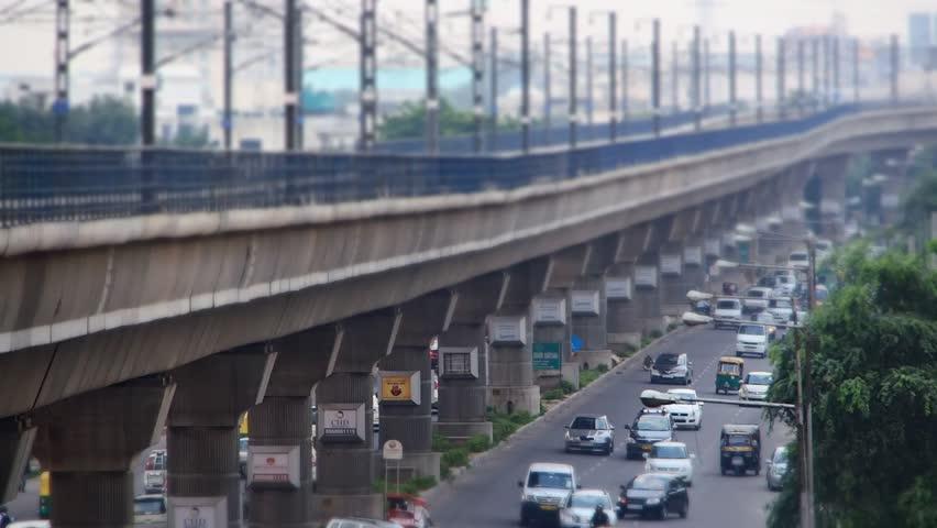New Delhi, India - 7/25/13 - Metro train in New Delhi, India