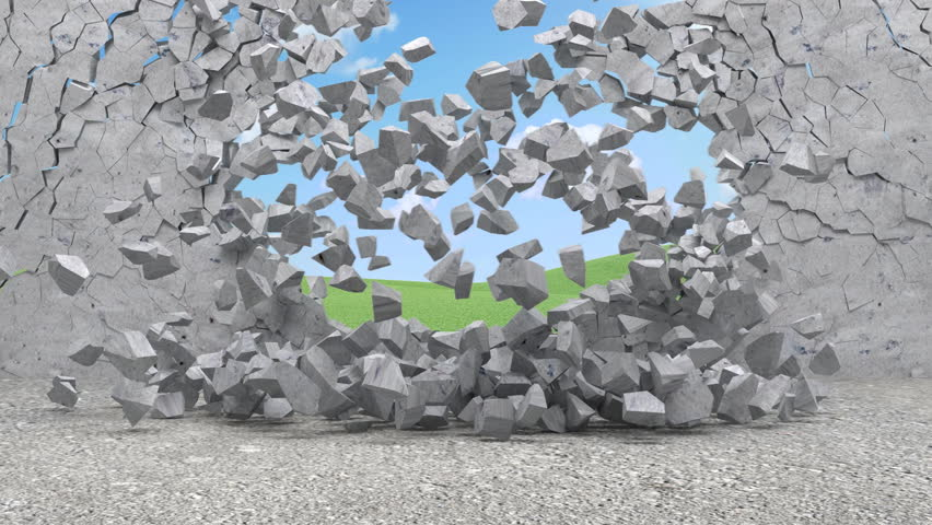 Demolition Concrete Wall : Demolition of a concrete wall with green background