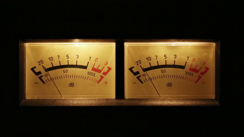Stereo decibel meters with backlit - part of sound equipment | Shutterstock HD Video #5100653