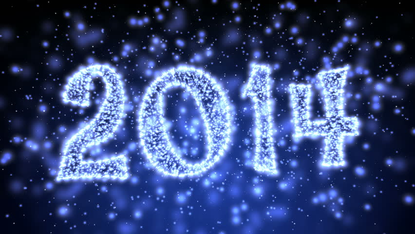 Sparkling New Year 2014 Title - Motion graphics with 2014 title made of glowing lights and defocused particles and sparkles. Great for any New Year or similar concept. Loop-able.