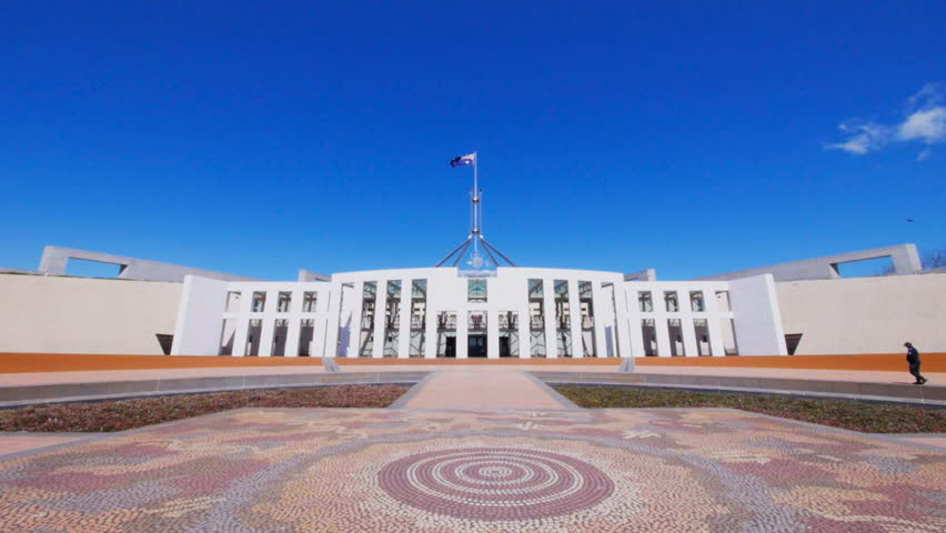 CANBERRA, AUSTRALIA - OCTOBER 2 2013  mosaic and front entry of parliament house in canberra, australia