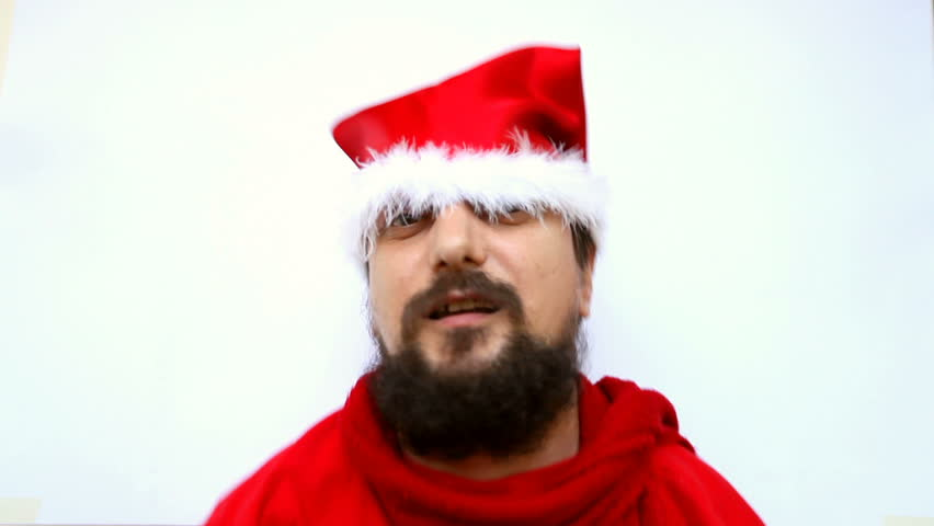 Beard man playing santa claus wearing red hat portrait. christmas and new year concept, idea shot. | Shutterstock HD Video #5151323