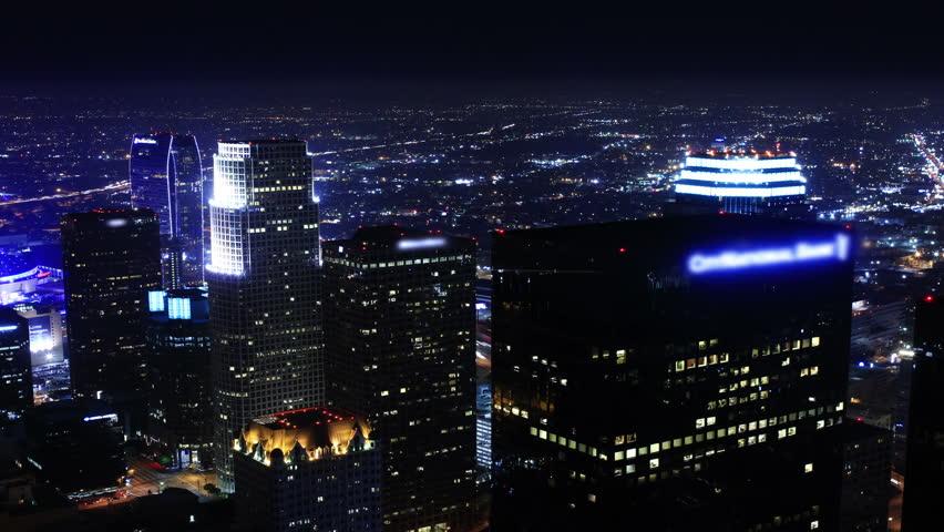 4K Night Cityscape Timelapse 153 Los Angeles Freeway Traffic Zoom Out | Shutterstock HD Video #5153723