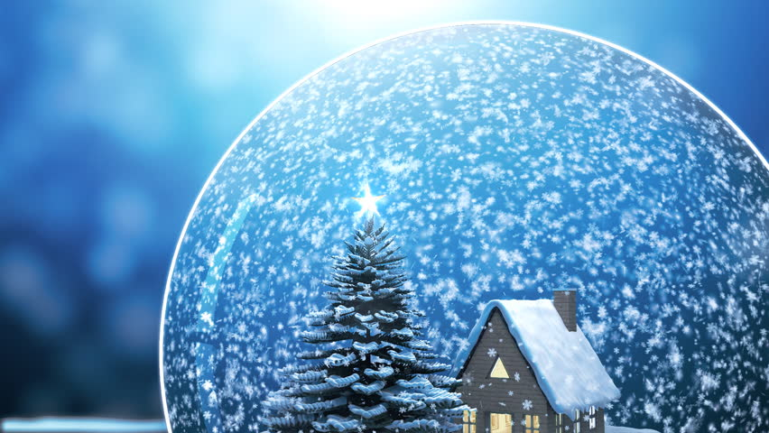 Loop able Christmas Snow globe Snowflake with Snowfall on Blue Background | Shutterstock HD Video #5161853