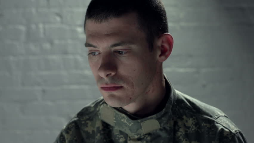 Close up of sad soldier | Shutterstock HD Video #5168663