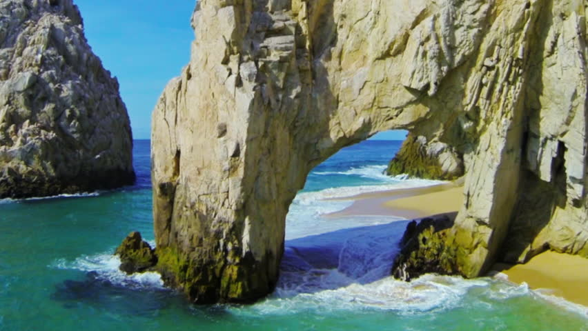 Never before aerial fly through the Arch at Lands End in Cabo San Lucas, Mexico