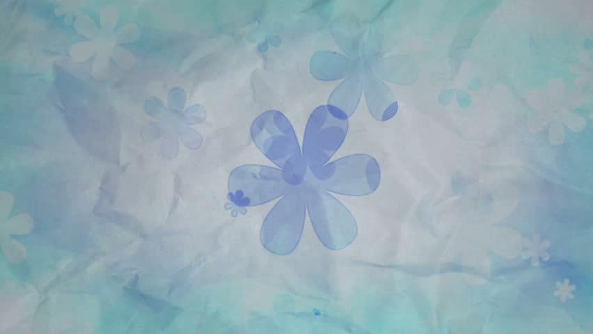 Vintage Flowers On Wrinkled Paper Looping 1080p Animated