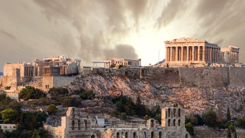 Parthenon temple on Athenian Acropolis, Athens, Greece - timelapse #5178617