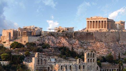 Parthenon temple on Athenian Acropolis, Athens, Greece - timelapse