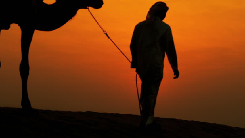 Arab male traditional headdress robe walking his camels over desert sand dunes silhouette sunset shot on RED EPIC, 4K, UHD, Ultra HD resolution