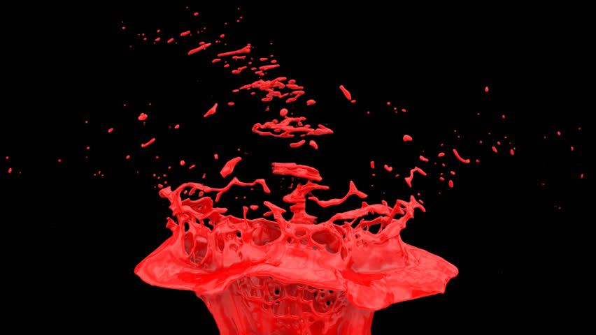 red paint splash in extreme slow motion, alpha channel included (FULL HD)