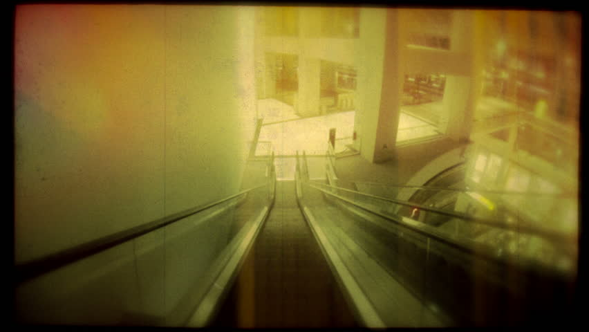 Retro look speed up escalator ride