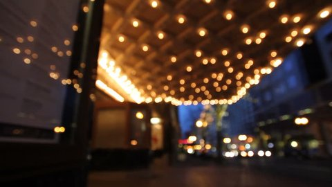 Historic Theater Marquee Lights at Blue Hour with Rush Hour Traffic along Broadway Street in Downtown Portland Oregon 1920x1080