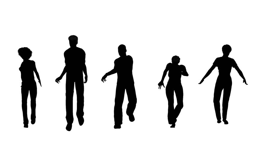 Dancing People On White Background, 3D Animation Stock