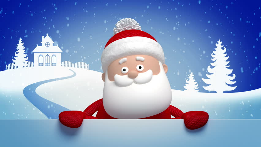 Christmas Santa Claus Animated Greeting Card D Cartoon Character Hd Stock Video Clip
