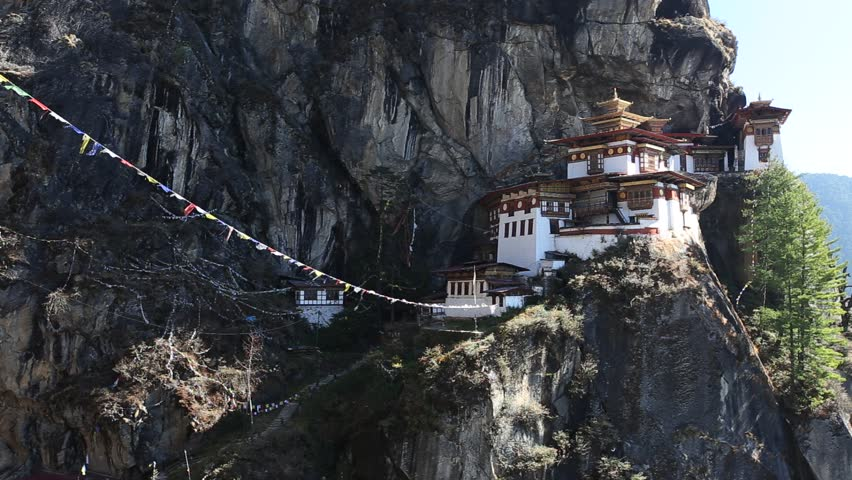 Paro Taktsang Monastery or Taktsang Palphug Monastery (also known as the Tiger's Nest) a prominent Himalayan Buddhist sacred site and temple complex on the cliffside of the upper Paro valley, Bhutan.