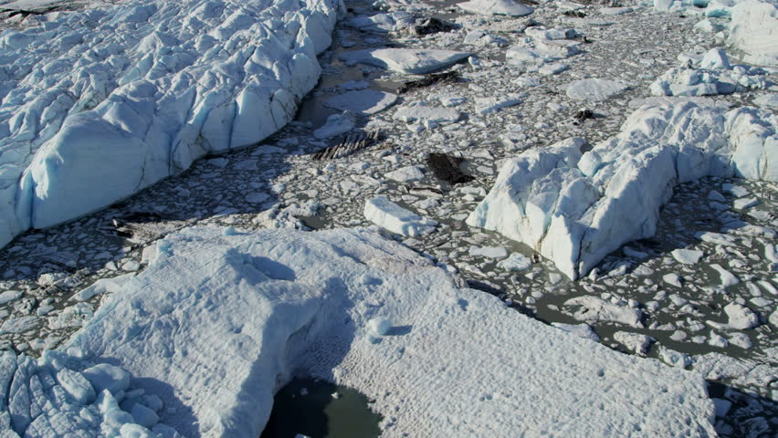 Aerial View Glacial Icebergs Floating Nr Main Glacier USA - Usa northern hemisphere
