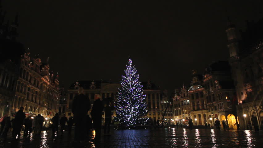 Christmas Tree Scenery Part - 30: Magical Scenery, Christmas Tree Colored Lighting Grand Place Brussels Night  - HD Stock Video Clip
