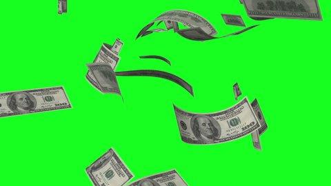 Money rain of dollar bills on the green background