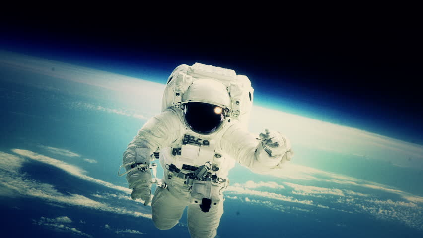 An astronaut stationed at the International Space Station goes on a spacewalk.