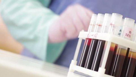 blood samples in test tubes