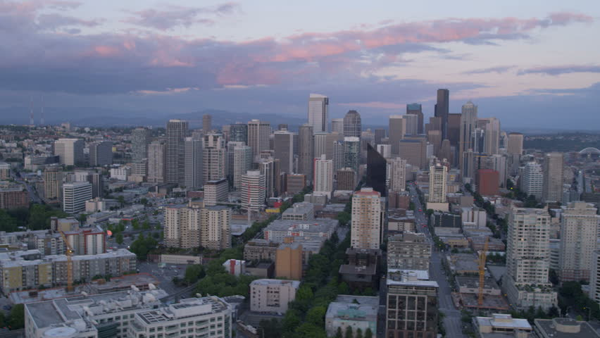 Aerial downtown sunset view of Seattle Business and Finance Center office skyscrapers, Puget Sound, Washington, Pacific Northwest, USA RED EPIC, 4K, UHD, Ultra HD resolution | Shutterstock HD Video #5300387