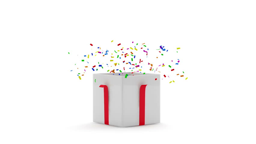 Animation Of Opened Gift Box With Confetti Inside Hq