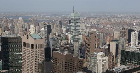 Aerial View of Sony Building, Midtown Manhattan, New York City, USA ( Ultra High Definition, Ultra HD, UHD, 4K, 2160P, 4096x2160 )