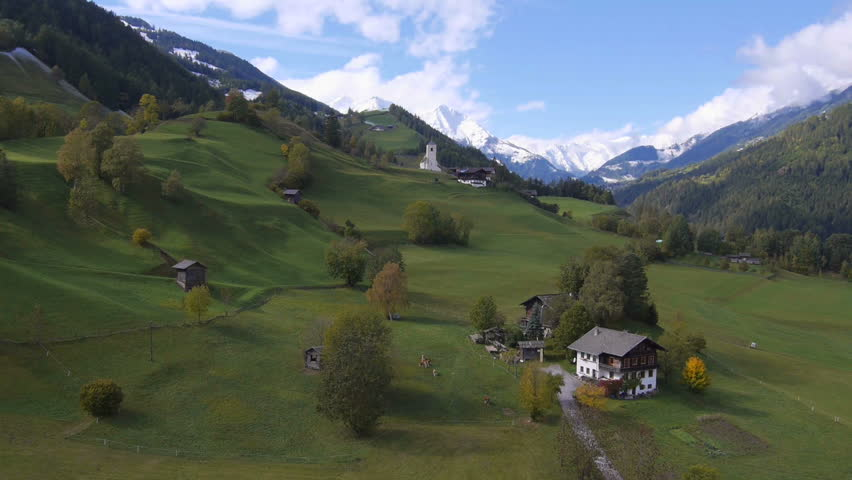 AERIAL: Beautiful Austrian countryside