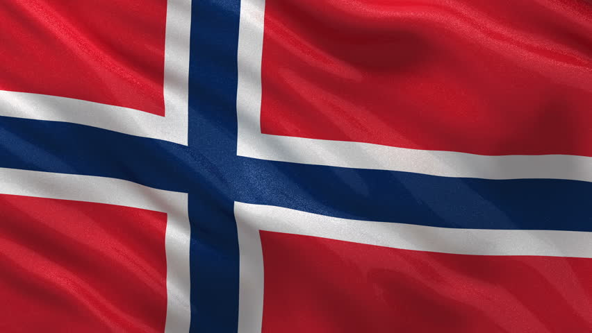 Flag of Norway waving in the wind. Seamless loop with high quality fabric material.