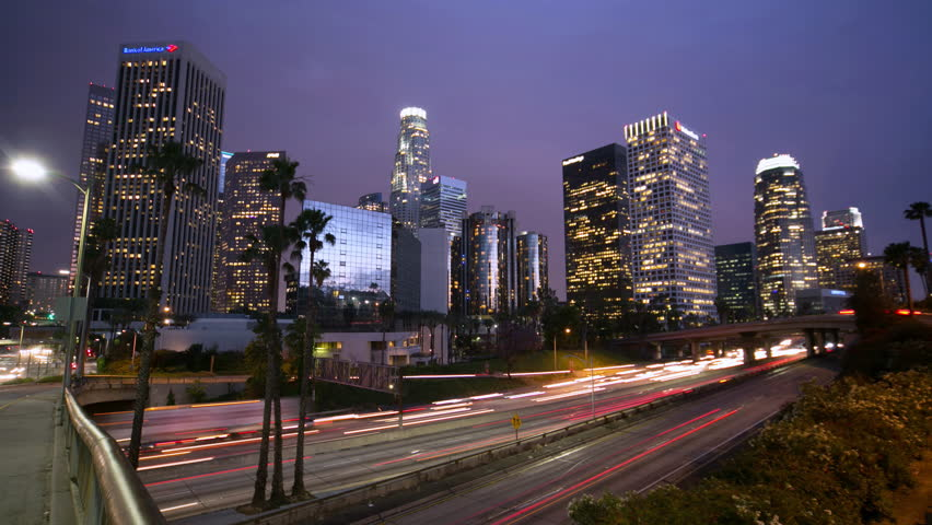 Los Angeles downtown skyline buildings skyscrapers at night timelapse 4k ultra hd | Shutterstock HD Video #5357444