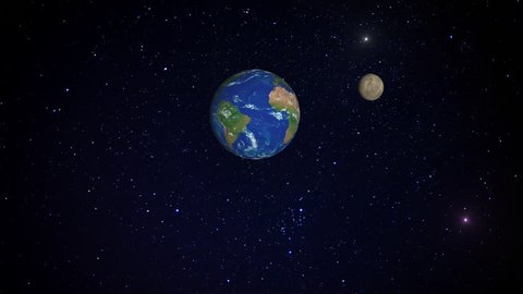 3D simulation of the Moon rotating around Earth. Animation including elements furnished by NASA.