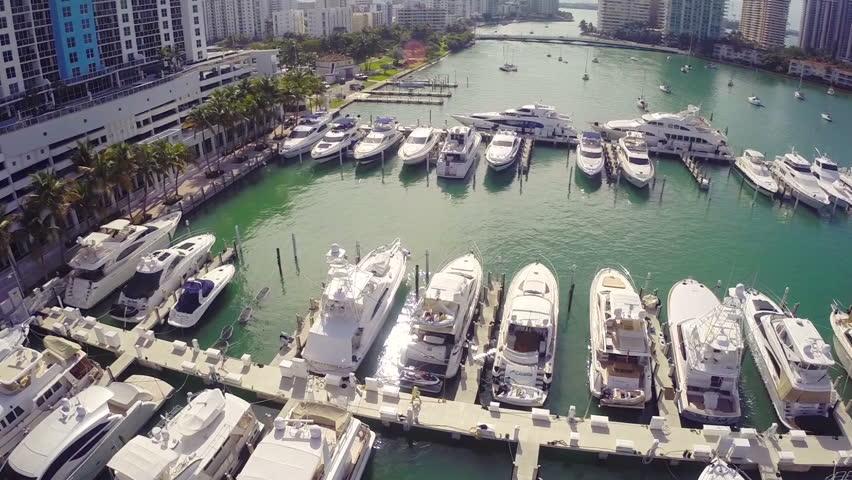 Aerial video of yachts at a marina
