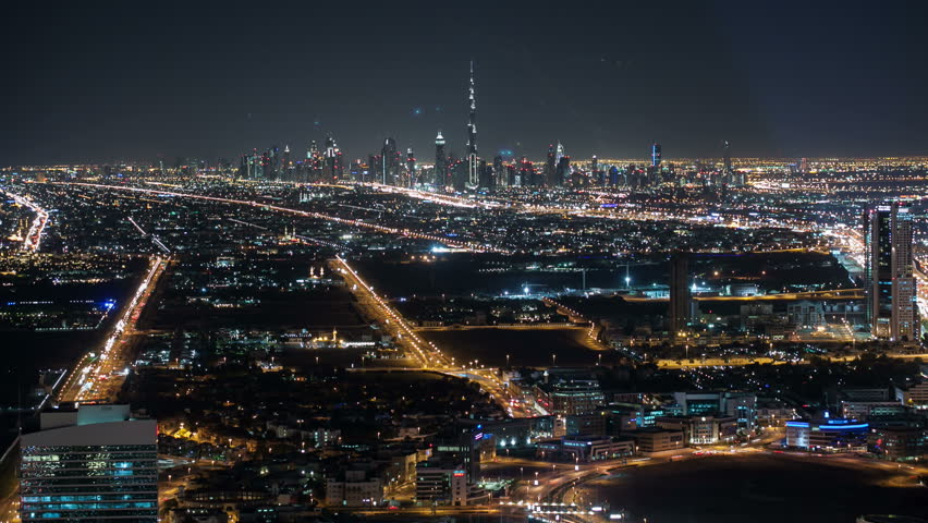 high light road view from the roof in dubai city